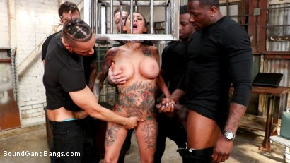 Photo number 10 from Buxom slut Lily Lane takes all the cock and gets all the cum shot for Bound Gang Bangs on Kink.com. Featuring Donny Sins, Mark Zane, Lily Lane, Apollo Knight , Johnny Goodluck  and Rob Piper in hardcore BDSM & Fetish porn.