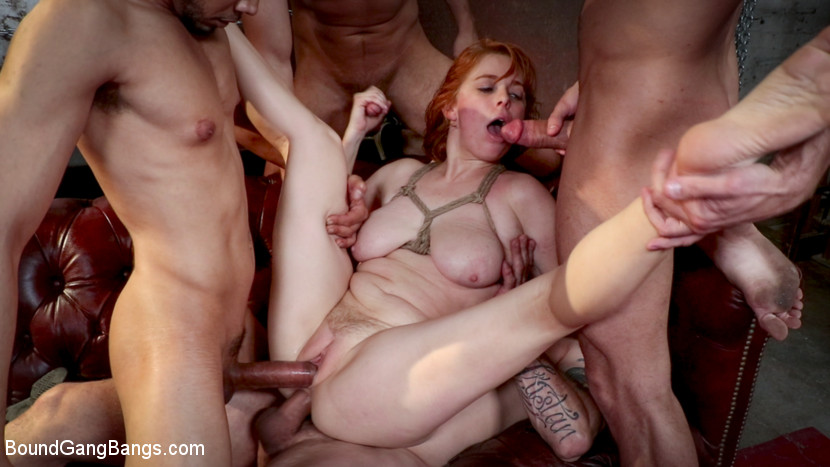 BoundGangBangs.com - Redhead Real Estate Agent Penny Pax Tied Up & Pounded by 5 Huge Cocks