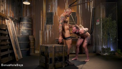 Photo number 14 from Hunky FTM Tech Nerd Sexually Submits in Rope shot for Bonus Hole Boys on Kink.com. Featuring Viktor Belmont and Leo Forte in hardcore BDSM & Fetish porn.