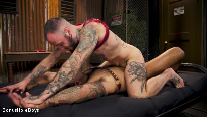 Photo number 27 from Hunky FTM Tech Nerd Sexually Submits in Rope shot for Bonus Hole Boys on Kink.com. Featuring Viktor Belmont and Leo Forte in hardcore BDSM & Fetish porn.