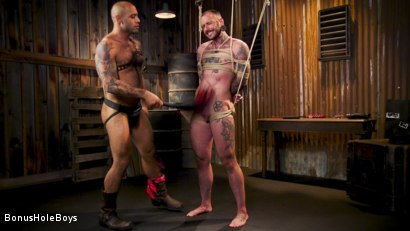 Photo number 11 from Hunky FTM Tech Nerd Sexually Submits in Rope shot for Bonus Hole Boys on Kink.com. Featuring Viktor Belmont and Leo Forte in hardcore BDSM & Fetish porn.