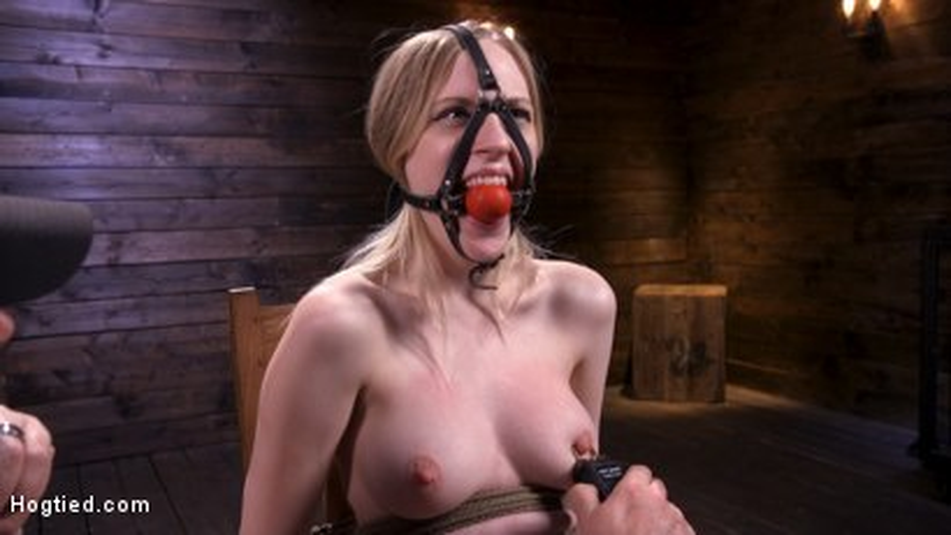 Photo number 4 from Sassy Pain Slut Gets Tormented in Bondage shot for Hogtied on Kink.com. Featuring Violet October in hardcore BDSM & Fetish porn.