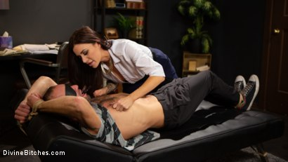 Photo number 2 from Divine Therapy: Gia DiMarco Uses Unconventional Procedures to Punish shot for Divine Bitches on Kink.com. Featuring Gia DiMarco and DJ in hardcore BDSM & Fetish porn.