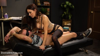 Photo number 3 from Divine Therapy: Gia DiMarco Uses Unconventional Procedures to Punish shot for Divine Bitches on Kink.com. Featuring Gia DiMarco and DJ in hardcore BDSM & Fetish porn.