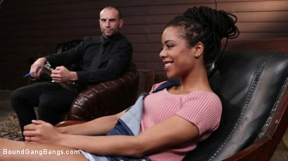 Photo number 2 from Kira Noir: Cock Crazy shot for Bound Gang Bangs on Kink.com. Featuring Stirling Cooper , Donny Sins, Codey Steele , Robby Echo, Eddie Jaye and Kira Noir in hardcore BDSM & Fetish porn.