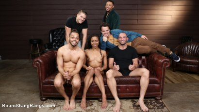 Photo number 34 from Kira Noir: Cock Crazy shot for Bound Gang Bangs on Kink.com. Featuring Stirling Cooper , Donny Sins, Codey Steele , Robby Echo, Eddie Jaye and Kira Noir in hardcore BDSM & Fetish porn.
