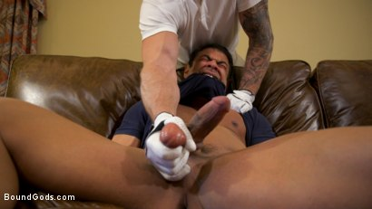 Photo number 7 from Valentine's Visitors: Draven Navarro Gets Whipped and DP'd shot for Bound Gods on Kink.com. Featuring Colby Jansen, Draven Navarro and Sebastian Keys in hardcore BDSM & Fetish porn.