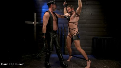 Photo number 16 from ASH PIGS: Cigar Smoking Leather Daddy Breaks in His Hairy Muscle Slave shot for Bound Gods on Kink.com. Featuring Kristofer Weston and Brendan Patrick in hardcore BDSM & Fetish porn.