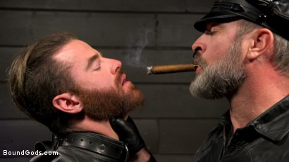 Photo number 4 from ASH PIGS: Cigar Smoking Leather Daddy Breaks in His Hairy Muscle Slave shot for Bound Gods on Kink.com. Featuring Kristofer Weston and Brendan Patrick in hardcore BDSM & Fetish porn.