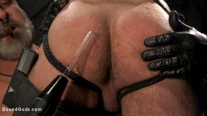 Photo number 13 from ASH PIGS: Cigar Smoking Leather Daddy Breaks in His Hairy Muscle Slave shot for Bound Gods on Kink.com. Featuring Kristofer Weston and Brendan Patrick in hardcore BDSM & Fetish porn.