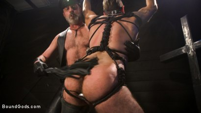 Photo number 17 from ASH PIGS: Cigar Smoking Leather Daddy Breaks in His Hairy Muscle Slave shot for Bound Gods on Kink.com. Featuring Kristofer Weston and Brendan Patrick in hardcore BDSM & Fetish porn.