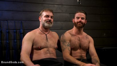 Photo number 22 from ASH PIGS: Cigar Smoking Leather Daddy Breaks in His Hairy Muscle Slave shot for Bound Gods on Kink.com. Featuring Kristofer Weston and Brendan Patrick in hardcore BDSM & Fetish porn.