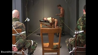 Photo number 11 from Soldiers in the Dungeon: Basic Training shot for Bound And Gagged on Kink.com. Featuring Michael Brandon, Jack Tufts, Leonardo Schiavino and Cameron Knight in hardcore BDSM & Fetish porn.