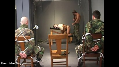 Photo number 18 from Soldiers in the Dungeon: Basic Training shot for Bound And Gagged on Kink.com. Featuring Michael Brandon, Jack Tufts, Leonardo Schiavino and Cameron Knight in hardcore BDSM & Fetish porn.
