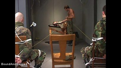 Photo number 12 from Soldiers in the Dungeon: Basic Training shot for Bound And Gagged on Kink.com. Featuring Michael Brandon, Jack Tufts, Leonardo Schiavino and Cameron Knight in hardcore BDSM & Fetish porn.