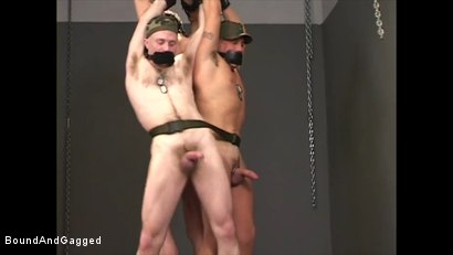 Photo number 15 from Soldier in the Dungeon: Advanced Training shot for Bound And Gagged on Kink.com. Featuring Michael Brandon, Jack Tufts, Leonardo Schiavino and Cameron Knight in hardcore BDSM & Fetish porn.