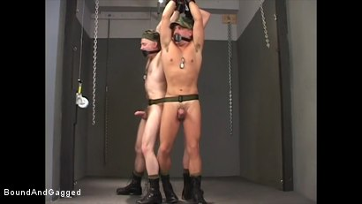 Photo number 16 from Soldier in the Dungeon: Advanced Training shot for Bound And Gagged on Kink.com. Featuring Michael Brandon, Jack Tufts, Leonardo Schiavino and Cameron Knight in hardcore BDSM & Fetish porn.