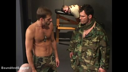 Photo number 4 from Soldier in the Dungeon: Advanced Training shot for Bound And Gagged on Kink.com. Featuring Michael Brandon, Jack Tufts, Leonardo Schiavino and Cameron Knight in hardcore BDSM & Fetish porn.