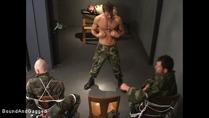 Photo number 3 from Soldier in the Dungeon: Advanced Training shot for Bound And Gagged on Kink.com. Featuring Michael Brandon, Jack Tufts, Leonardo Schiavino and Cameron Knight in hardcore BDSM & Fetish porn.