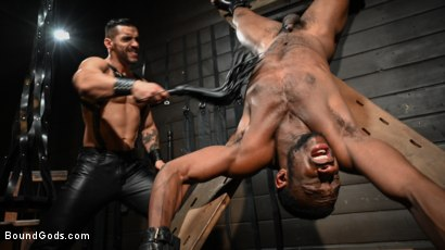 Photo number 10 from Fresh Muscle: Leather Clad Arad Winwin Punishes Newcomer Parker Payne shot for Bound Gods on Kink.com. Featuring Arad Winwin and Parker Payne in hardcore BDSM & Fetish porn.