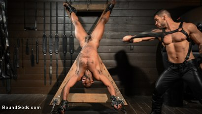 Photo number 11 from Fresh Muscle: Leather Clad Arad Winwin Punishes Newcomer Parker Payne shot for Bound Gods on Kink.com. Featuring Arad Winwin and Parker Payne in hardcore BDSM & Fetish porn.