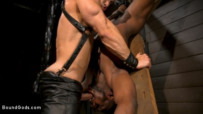 Photo number 14 from Fresh Muscle: Leather Clad Arad Winwin Punishes Newcomer Parker Payne shot for Bound Gods on Kink.com. Featuring Arad Winwin and Parker Payne in hardcore BDSM & Fetish porn.