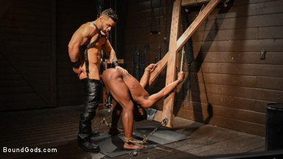 Photo number 17 from Fresh Muscle: Leather Clad Arad Winwin Punishes Newcomer Parker Payne shot for Bound Gods on Kink.com. Featuring Arad Winwin and Parker Payne in hardcore BDSM & Fetish porn.