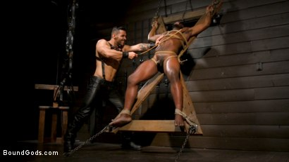 Photo number 7 from Fresh Muscle: Leather Clad Arad Winwin Punishes Newcomer Parker Payne shot for Bound Gods on Kink.com. Featuring Arad Winwin and Parker Payne in hardcore BDSM & Fetish porn.