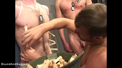Photo number 8 from Soldier in the Dungeon: Special Training shot for Bound And Gagged on Kink.com. Featuring Michael Brandon, Jack Tufts, Leonardo Schiavino and Cameron Knight in hardcore BDSM & Fetish porn.