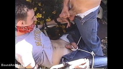 Photo number 6 from At Paul's House: Tied in a Garden, Lee Hassalo Gets Watered shot for Bound And Gagged on Kink.com. Featuring Lee Hassalo, Luke Sabre, Thomas Bond and Trey Hunter in hardcore BDSM & Fetish porn.