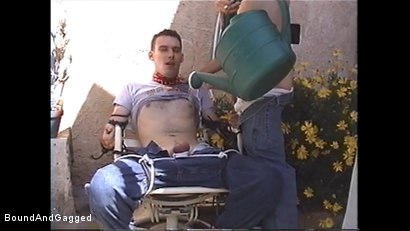 Photo number 9 from At Paul's House: Tied in a Garden, Lee Hassalo Gets Watered shot for Bound And Gagged on Kink.com. Featuring Lee Hassalo, Luke Sabre, Thomas Bond and Trey Hunter in hardcore BDSM & Fetish porn.