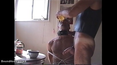 Photo number 3 from At Paul's House: Bound for Breakfast shot for Bound And Gagged on Kink.com. Featuring Lee Hassalo, Thomas Bond, Trey Hunter and Luke Sabre in hardcore BDSM & Fetish porn.