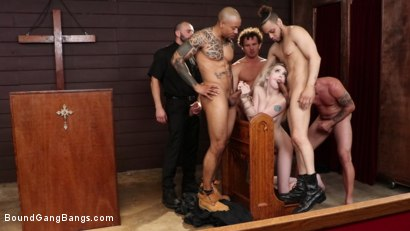 Photo number 6 from Lexi Lore: Holey Temptation shot for Bound Gang Bangs on Kink.com. Featuring Lexi Lore , Stirling Cooper , Donny Sins, Robby Echo, Mr. Pete and Eddie Jaye in hardcore BDSM & Fetish porn.
