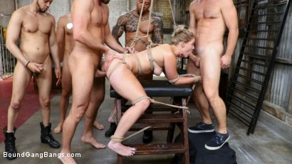 Photo number 4 from Whore Holes: Lisey Sweet gets all her slutty holes stuffed and fucked shot for Bound Gang Bangs on Kink.com. Featuring Lisey Sweet , Stirling Cooper , Donny Sins, Robby Echo, Codey Steele  and Eddie Jaye in hardcore BDSM & Fetish porn.
