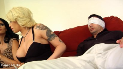 Photo number 5 from Blindfolded and Tricked to Suck Cock shot for Banana Jacks on Kink.com. Featuring Jennifer Dark, Gabriel Dalessandro, Toe Jam and Brooke Haven in hardcore BDSM & Fetish porn.