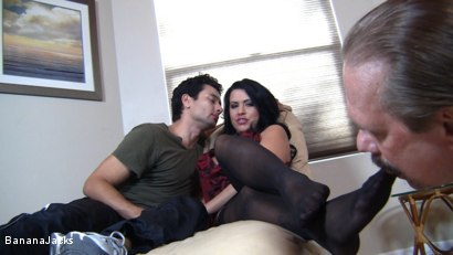 Photo number 1 from Cock from both Ends - Humiliated Hubby's Feeding Time shot for Banana Jacks on Kink.com. Featuring Gabriel Dalessandro, Baylee Lee, Johnny Cockring and Lacie James in hardcore BDSM & Fetish porn.