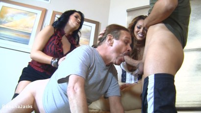 Photo number 12 from Cock from both Ends - Humiliated Hubby's Feeding Time shot for Banana Jacks on Kink.com. Featuring Gabriel Dalessandro, Baylee Lee, Johnny Cockring and Lacie James in hardcore BDSM & Fetish porn.
