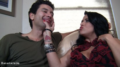Photo number 4 from Cock from both Ends - Humiliated Hubby's Feeding Time shot for Banana Jacks on Kink.com. Featuring Gabriel Dalessandro, Baylee Lee, Johnny Cockring and Lacie James in hardcore BDSM & Fetish porn.