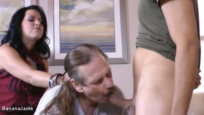 Photo number 8 from Cock from both Ends - Humiliated Hubby's Feeding Time shot for Banana Jacks on Kink.com. Featuring Gabriel Dalessandro, Baylee Lee, Johnny Cockring and Lacie James in hardcore BDSM & Fetish porn.