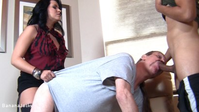 Photo number 9 from Cock from both Ends - Humiliated Hubby's Feeding Time shot for Banana Jacks on Kink.com. Featuring Gabriel Dalessandro, Baylee Lee, Johnny Cockring and Lacie James in hardcore BDSM & Fetish porn.