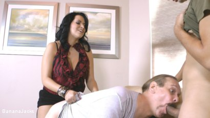 Photo number 10 from Cock from both Ends - Humiliated Hubby's Feeding Time shot for Banana Jacks on Kink.com. Featuring Gabriel Dalessandro, Baylee Lee, Johnny Cockring and Lacie James in hardcore BDSM & Fetish porn.