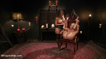 Photo number 12 from Halloween Party Surprise: Kayla Paige Returns to Whipped Ass! shot for Whipped Ass on Kink.com. Featuring London River and Kayla Paige in hardcore BDSM & Fetish porn.