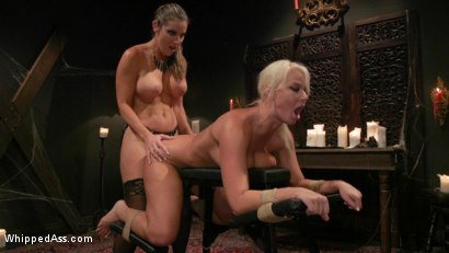 Photo number 21 from Halloween Party Surprise: Kayla Paige Returns to Whipped Ass! shot for Whipped Ass on Kink.com. Featuring London River and Kayla Paige in hardcore BDSM & Fetish porn.
