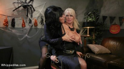 Photo number 2 from Halloween Party Surprise: Kayla Paige Returns to Whipped Ass! shot for Whipped Ass on Kink.com. Featuring London River and Kayla Paige in hardcore BDSM & Fetish porn.