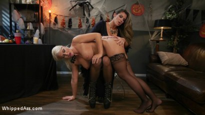 Photo number 6 from Halloween Party Surprise: Kayla Paige Returns to Whipped Ass! shot for Whipped Ass on Kink.com. Featuring London River and Kayla Paige in hardcore BDSM & Fetish porn.