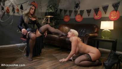 Photo number 8 from Halloween Party Surprise: Kayla Paige Returns to Whipped Ass! shot for Whipped Ass on Kink.com. Featuring London River and Kayla Paige in hardcore BDSM & Fetish porn.