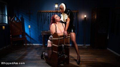 Photo number 3 from Lesbian Latex Blasphemy: Ashley Paige Whips the Sin Out Of Bella Rossi shot for Whipped Ass on Kink.com. Featuring Ashley Paige  and Bella Rossi in hardcore BDSM & Fetish porn.
