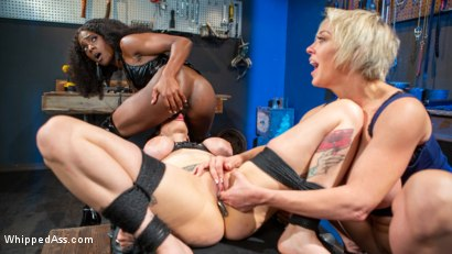 Photo number 18 from Kinky Workshop: Ana Foxxx & Dee Williams Strap-On DP Arabelle Raphael shot for Whipped Ass on Kink.com. Featuring Dee Williams, Ana Foxxx and Arabelle Raphael in hardcore BDSM & Fetish porn.