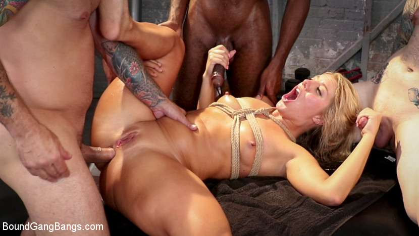 BoundGangBangs.com - Gym Slut: Candice Dare Works Out All Her Holes with Sweaty Gang Bang - Kink