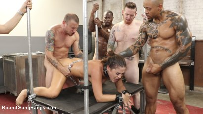 Photo number 9 from Kendra Heart: Take My Holes, Please shot for Bound Gang Bangs on Kink.com. Featuring Kendra Heart , Donny Sins, Johnny Goodluck , Mr. Pete, Eddie Jaye and Rob Piper in hardcore BDSM & Fetish porn.